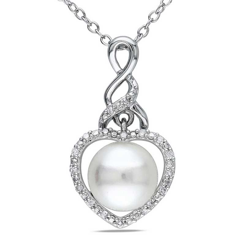 BAL000467: Pearl /Dmnd-Accnt Heart fity Nck SS
