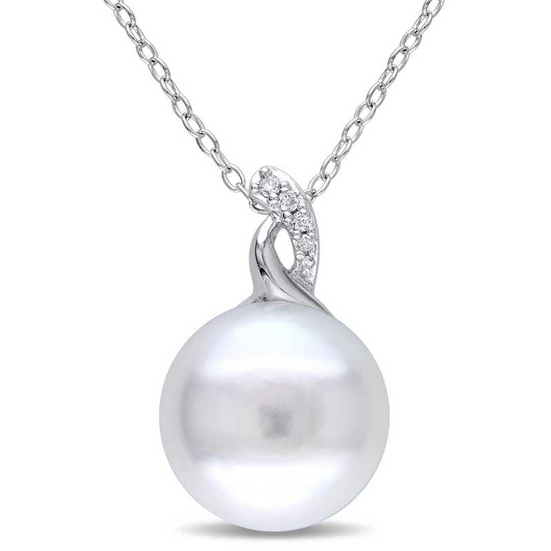 BAL000465: Freshwater Cultured Pearl / Dmnd-Accent Twist Nck  SS