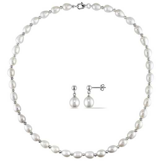 BAL000470: 2PC ST Freshwater Cultured Pearl/BeadNecklace/Earrgs SS