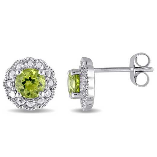 BAL000095: 10KWG 5MM PERIDOT FLOWER BEAD STUD EARS - White