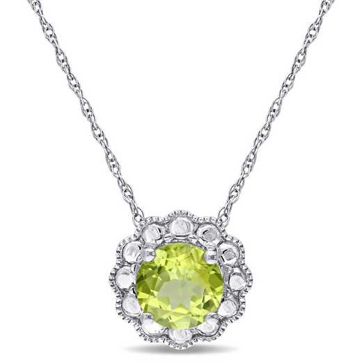 BAL000093: 10KWG 6.5MM PERIDOT FLOWER BEAD PENDT - White