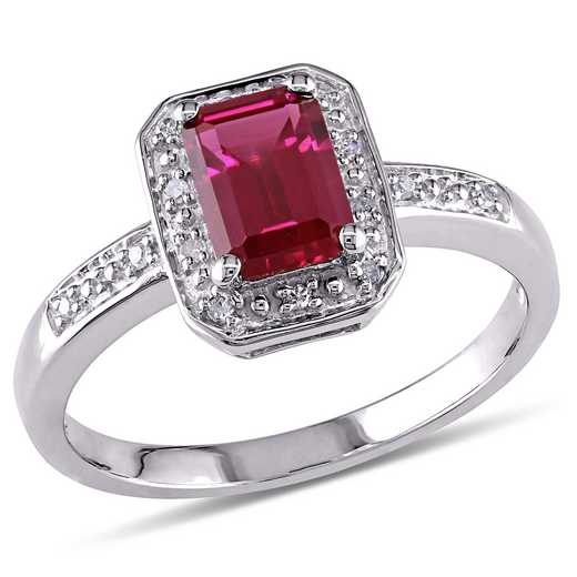 Emerald Cut Created Ruby and Diamond-Accent Halo Ring in Sterling Silver