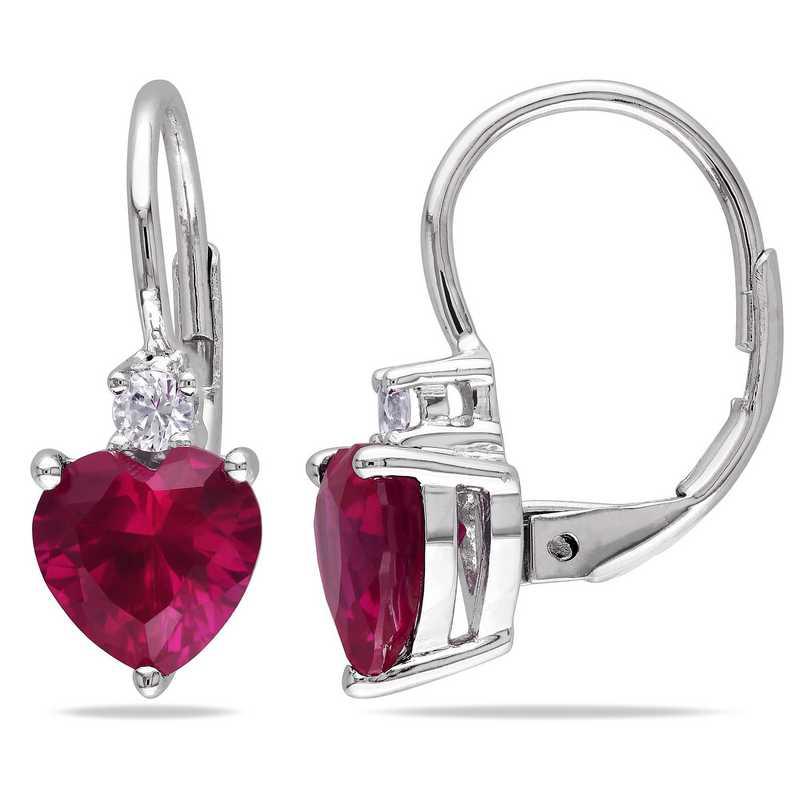 BAL000510:  Ruby /  Wht Sapphire Heart Earrgs  SS