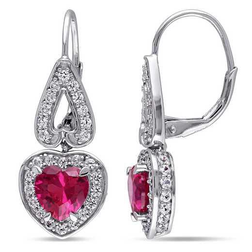 BAL000514:  Ruby /  Wht Sapphire Heart Earrgs  SS
