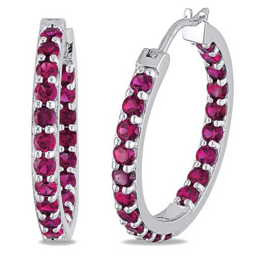 BAL000495:  Ruby Inside Outside Hoop Earrings SS