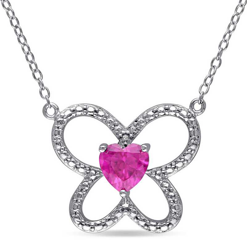 BAL000183:  Ruby Butterfly Heart Necklace Sterling Silver