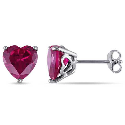 BAL000500:  Ruby Heart Stud Earrings in Sterling Silver