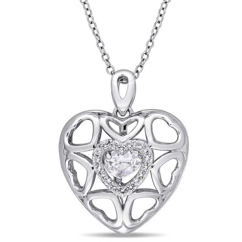 BAL000440: WhtTopaz Floating Heart Locket Necklace SS