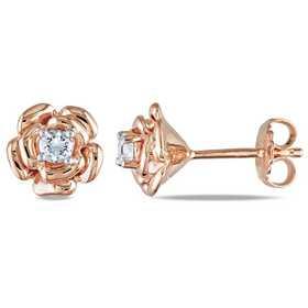 BAL000367:  White Sapphire Flower Stud Earrings in Rose Plated SS