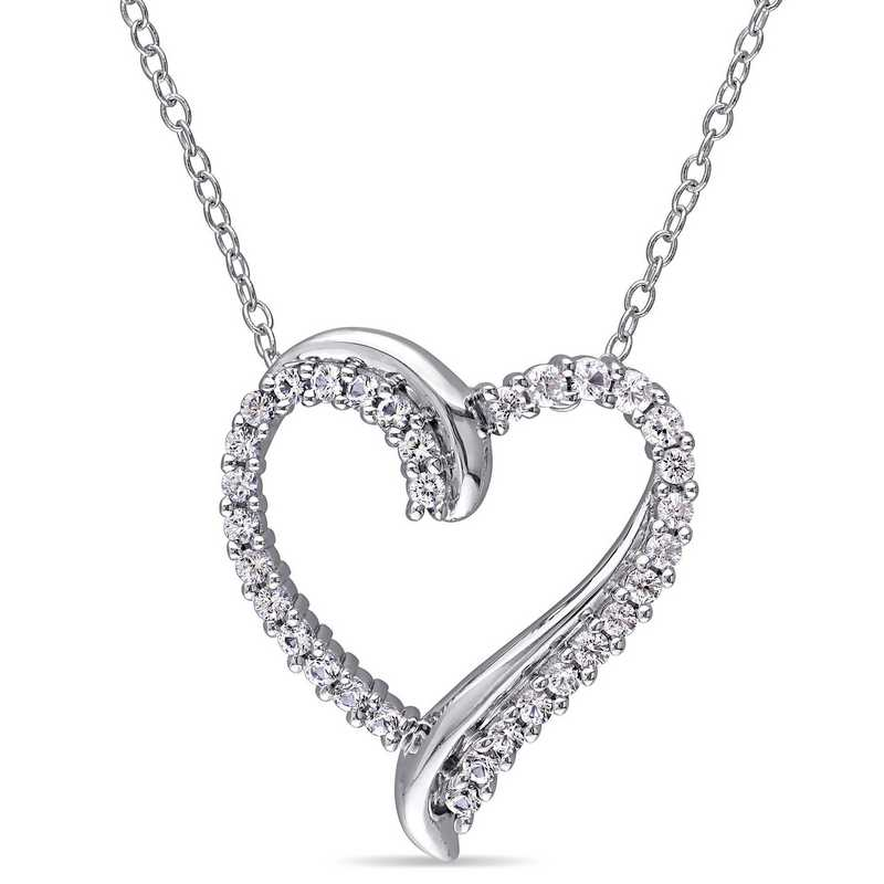 BAL000405:  White Sapphire Heart Necklace  Sterlg Silver