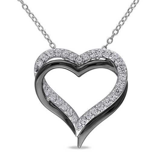 BAL000406:  White Sapphire Double Heart Necklace  Sterlg Silver