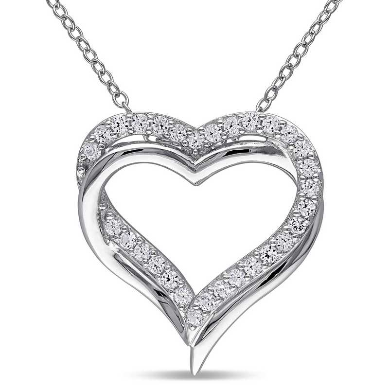 BAL000407:  White Sapphire Double Heart Necklace  Sterlg Silver