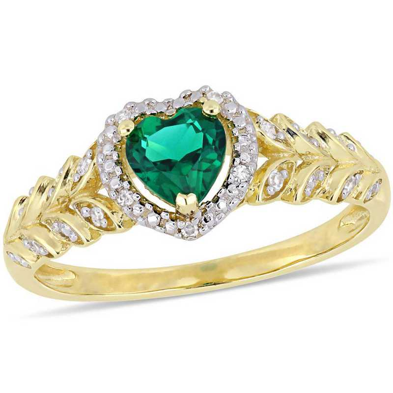 Created Emerald and Diamond Accent Halo Heart Ring in 10k Yellow Gold