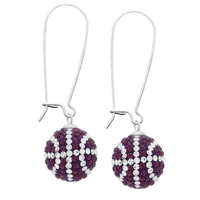QQ-E-BB-AME-CRY: Game Time Bling Basketball Earrings -AME/CRY