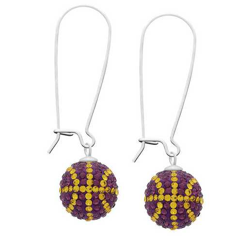 QQ-E-BB-AME-TOP: Game Time Bling Basketball Earrings -AME/Topaz