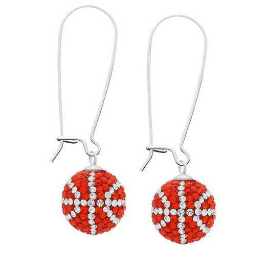 QQ-E-BB-HYA-CRY: Game Time Bling Basketball Earrings - HYA/CRY