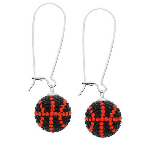 QQ-E-BB-HYA-JET: Game Time Bling Basketball Earrings - HYA/Jet