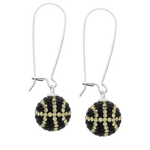 QQ-E-BB-JET-LCT: Game Time Bling Basketball Earrings - Jet/Lt CT