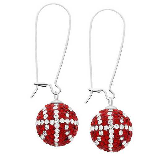 QQ-E-BB-LTSIA-CRY: Game Time Bling Basketball Earrings - Lt Siam/CRY