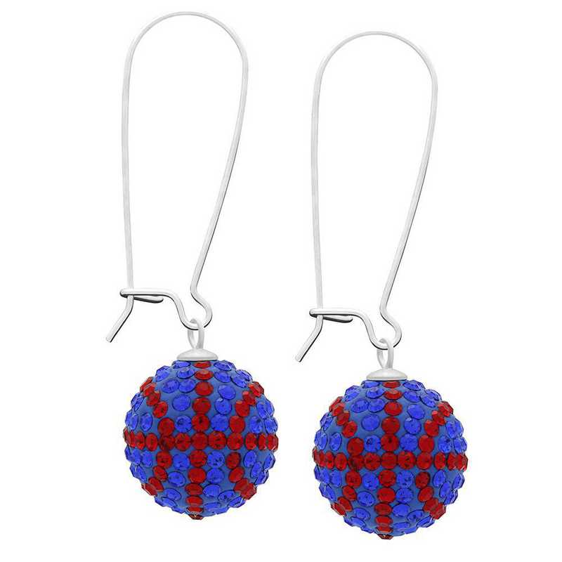 QQ-E-BB-SAP-LTSIA: Game Time Bling Basketball Earrings - Sapphire/Lt Siam