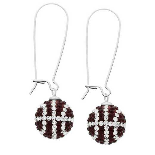 QQ-E-BB-SIA-CRY: Game Time Bling Basketball Earrings - Siam/CRY