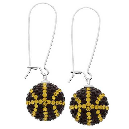 QQ-E-BB-SIA-TOP: Game Time Bling Basketball Earrings - Siam/Topaz