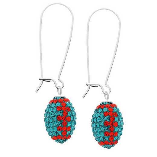 QQ-E-FB-BLZIR-HYA: Football Earrings - Blue Zircon/HYA