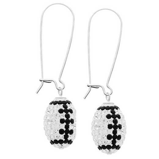 QQ-E-FB-CRY-JET: Game Time Bling Football Earrings - CRY/Jet