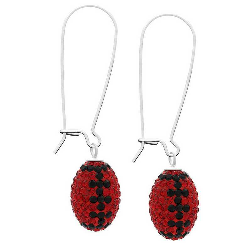 QQ-E-FB-LTSIA-JET: Game Time Bling Football Earrings - Lt Siam/Jet