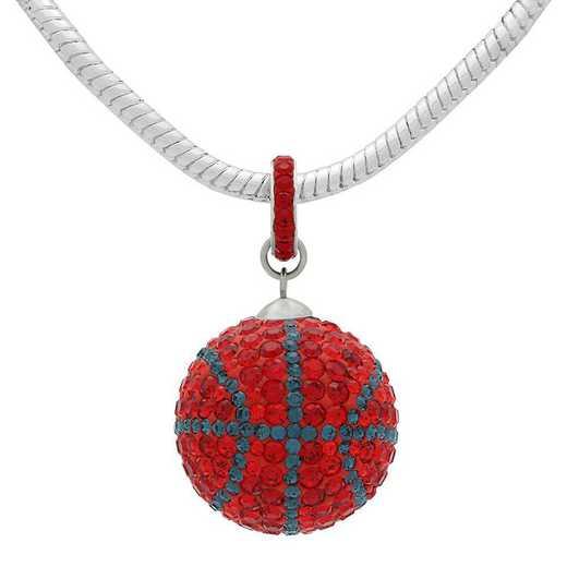 QQ-L-BB-N-LTSIA-MON: Game Time Bling Lrg Basketball Necklace -Lt Siam/MON