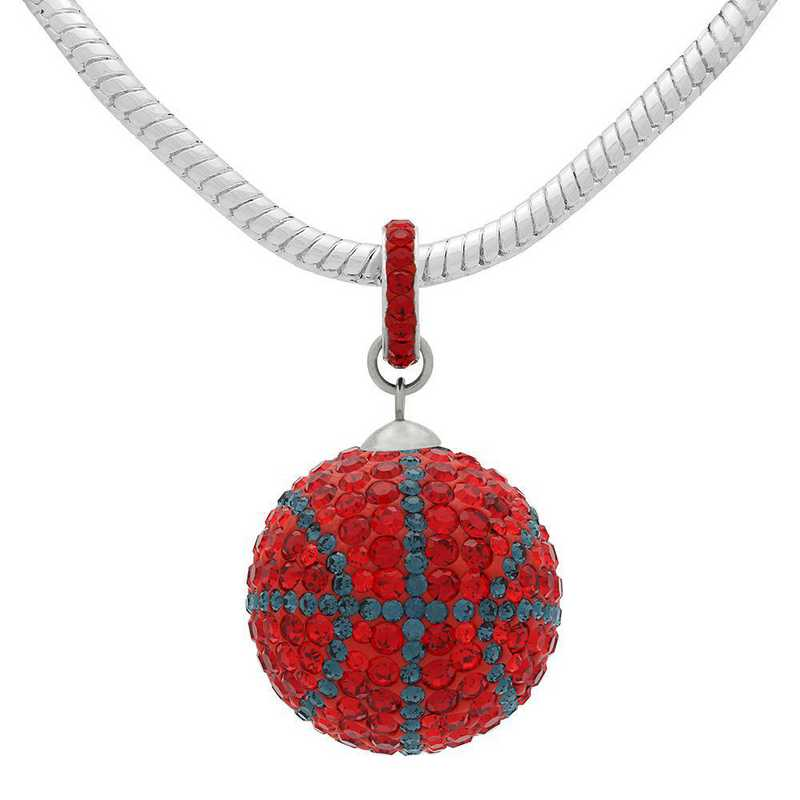 QQ-L-BB-N-LTSIA-MON: Game Time Bling Lrg Basketball Necklace -Lt Siam/MON