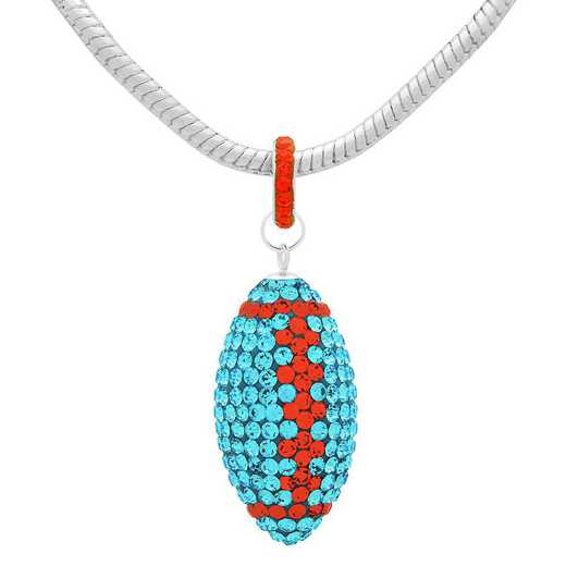 "QQ-L-FB-N-AQU-HYA: Game Time Bling Lrg Football Ncklce18"" - Aquamarine/HYA"