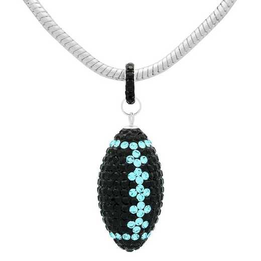 "QQ-L-FB-N-JET-AQU: Game Time Bling Lrg Football Ncklce18"" - Jet/Aquamarine"