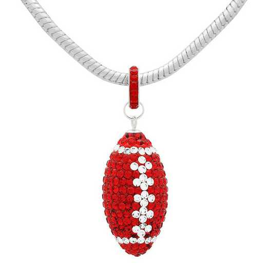 "QQ-L-FB-N-LTSIA-CRY: Game Time Bling Lrg Football Ncklce18"" - Lt Siam/CRY"