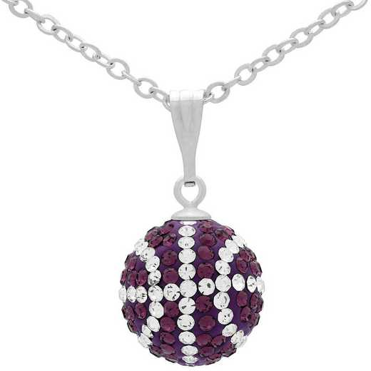 QQ-M-BB-N-AME-CRY: Game Time Bling Mini Basketball Necklace -AME/CRY