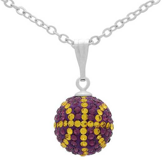 QQ-M-BB-N-AME-TOP: Game Time Bling Mini Basketball Necklace -AME/Topaz