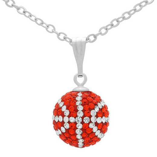 QQ-M-BB-N-HYA-CRY: Game Time Bling Mini Basketball Necklace - HYA/CRY