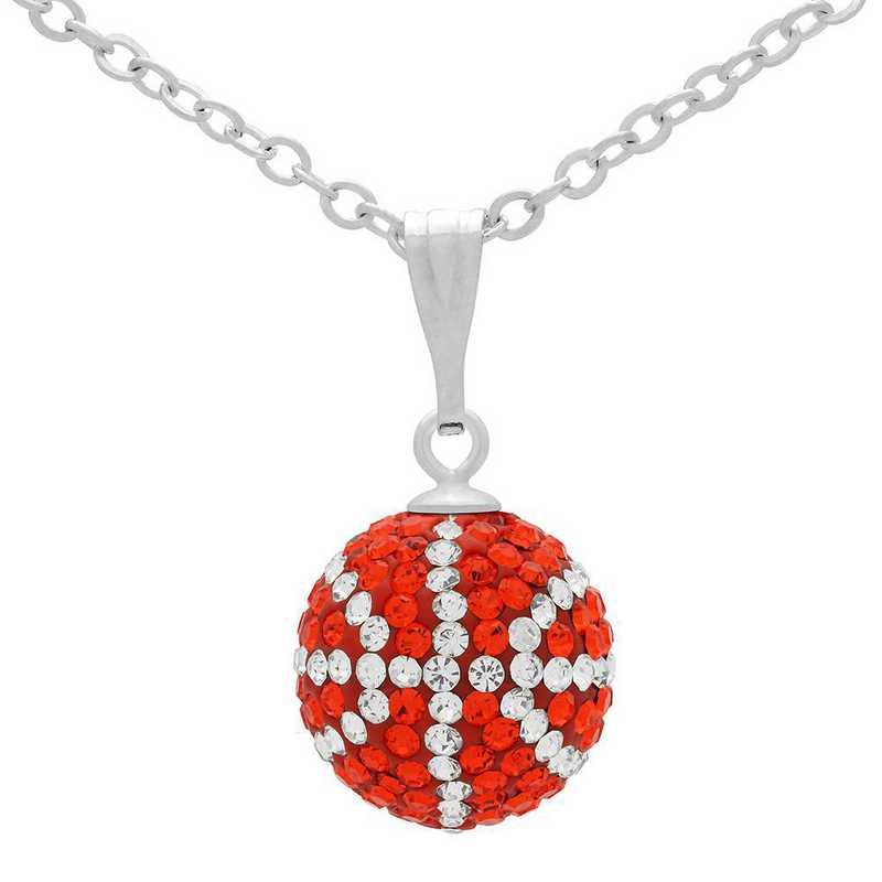 QQ-M-BB-N-HYA-CRY: Game Time Bling Mini Basketball Necklace - HYA/CRY