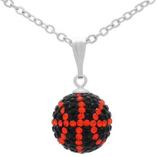 QQ-M-BB-N-HYA-JET: Game Time Bling Mini Basketball Necklace - HYA/Jet