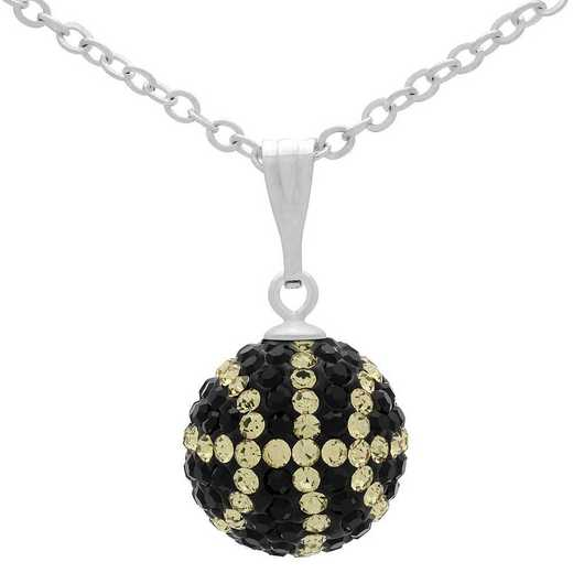 QQ-M-BB-N-JET-LCT: Game Time Bling Mini Basketball Necklace - Jet/Lt CT
