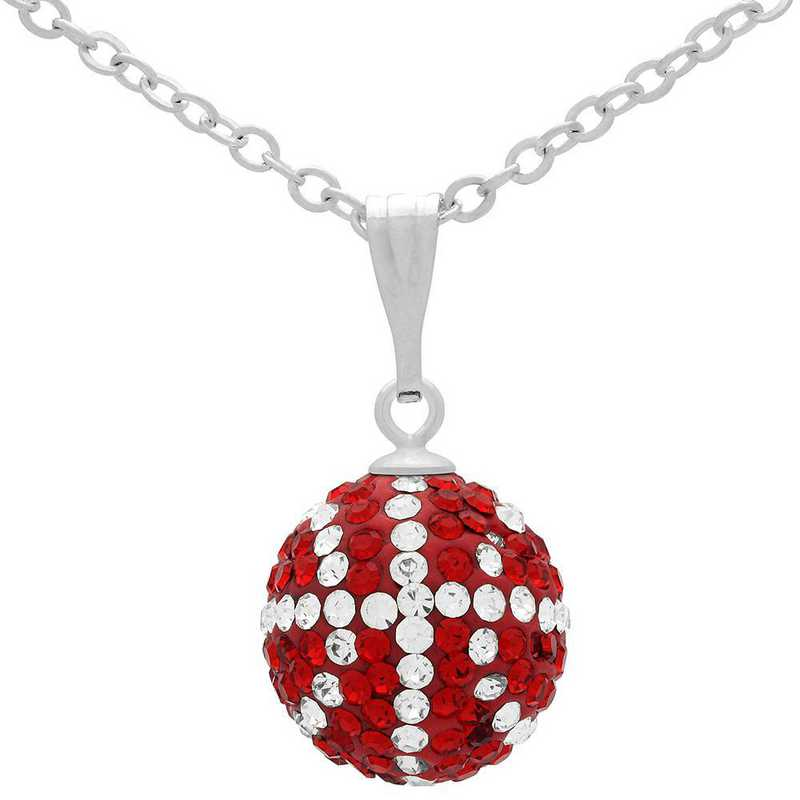 QQ-M-BB-N-LTSIA-CRY: Game Time Bling Mini Basketball Necklace - Lt Siam/CRY