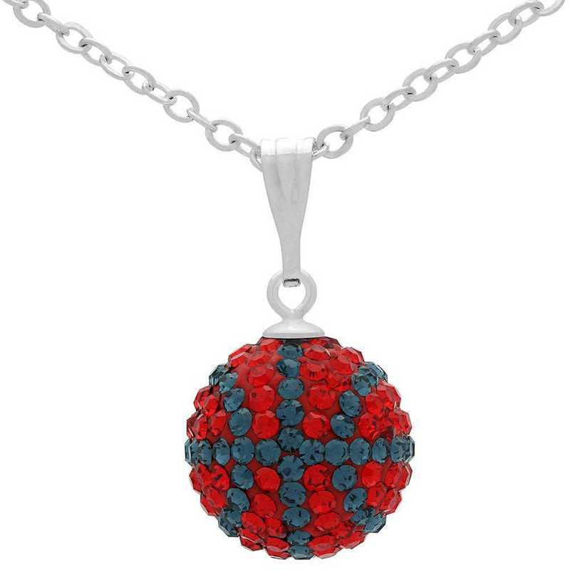 QQ-M-BB-N-LTSIA-MON: Game Time Bling Mini Basketball Necklace - Lt Siam/MON