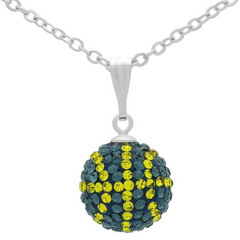 QQ-M-BB-N-MON-CIT: Game Time Bling Mini Basketball Necklace - MON/Citrine