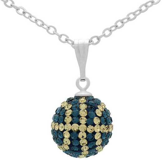 QQ-M-BB-N-MON-LCT: Game Time Bling Mini Basketball Necklace - MON/Lt CT