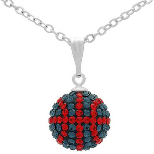 QQ-M-BB-N-MON-LTSIA: Game Time Bling Mini Basketball Necklace - MON/Lt Siam