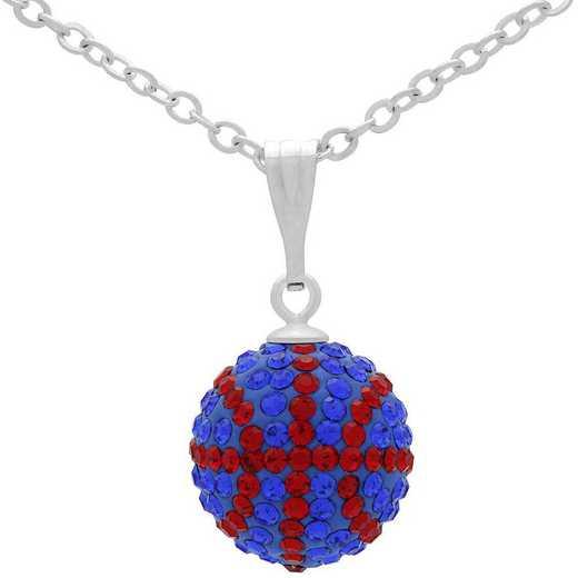 QQ-M-BB-N-SAP-LTSIA: Game Time Bling Mini Basketball Necklace - Sapphire/Lt Siam