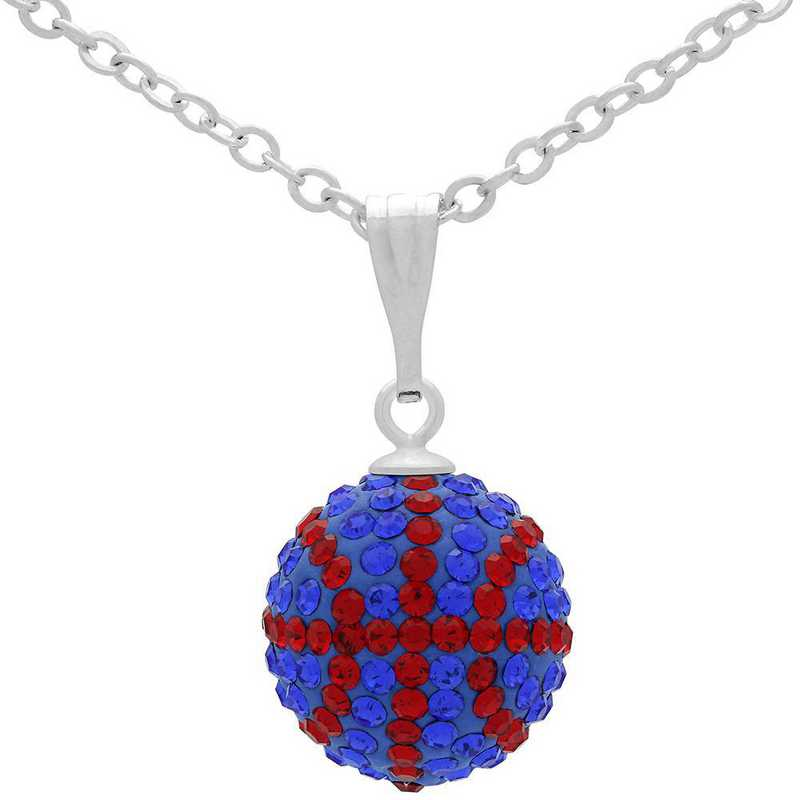 QQ-M-BB-N-SAP-LTSIA: Game Time Bling Mini Basketball Necklace - Sapphire/Lt Siam