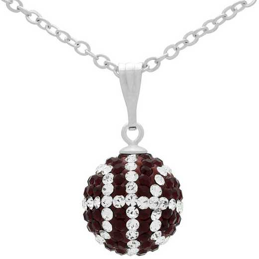 QQ-M-BB-N-SIA-CRY: Game Time Bling Mini Basketball Necklace - Siam/CRY