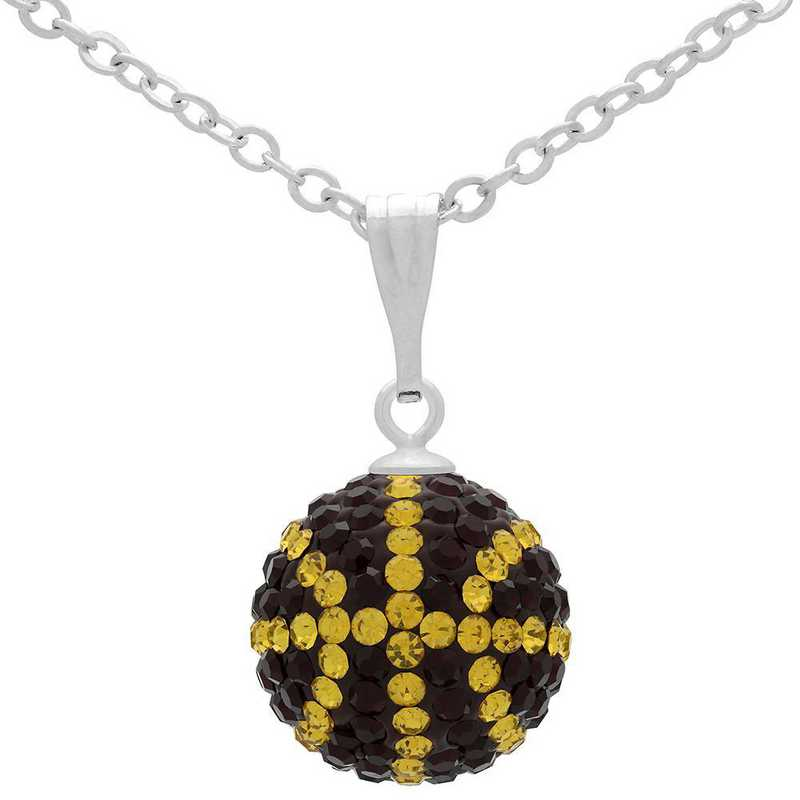 QQ-M-BB-N-SIA-TOP: Game Time Bling Mini Basketball Necklace - Siam/Topaz