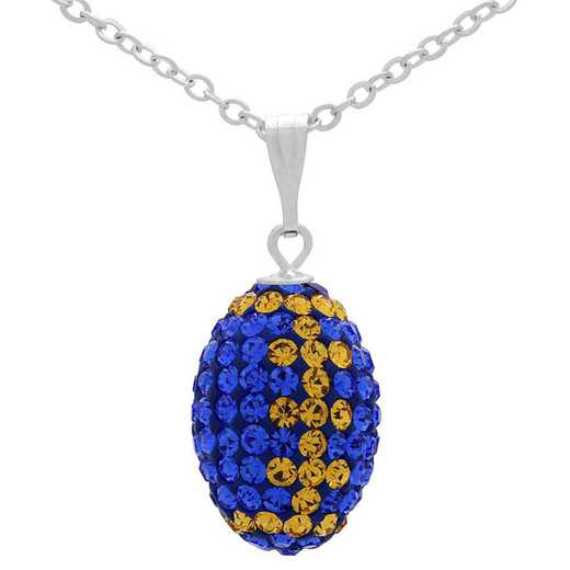 "QQ-M-FB-N-SAP-TOP: Mini Football Necklace18"" - Sapphire/Topaz"